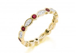 18ct Yellow Gold Ruby & Diamond Marquise & Round Brilliant Cut Full Eternity Ring 1.32ct