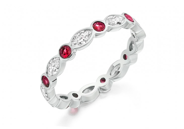 18ct White Gold Ruby & Diamond Marquise & Round Brilliant Cut Full Eternity Ring 1.32ct