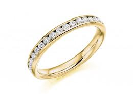 18ct Yellow Gold Round Brilliant Cut Full Eternity Ring 0.75ct
