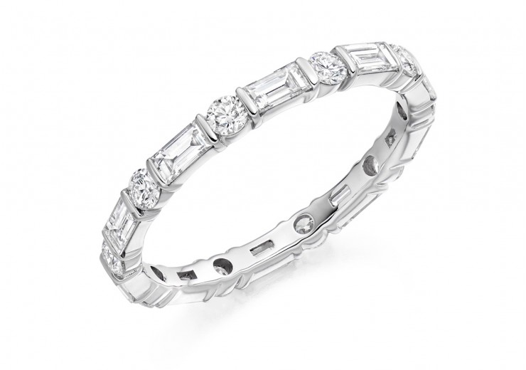 18ct White Gold Baguette & Round Brilliant Cut Full Eternity Ring 1.20ct