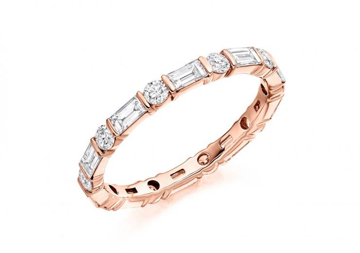 18ct Rose Gold Baguette & Round Brilliant Cut Full Eternity Ring 1.20ct