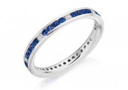18ct White Gold Sapphire & Diamond Round Brilliant Cut Full Eternity Ring 0.67ct