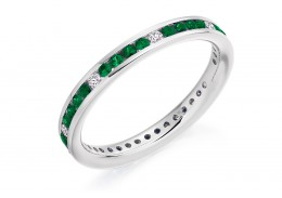 18ct White Gold Emerald & Diamond Round Brilliant Cut Full Eternity Ring 0.67ct