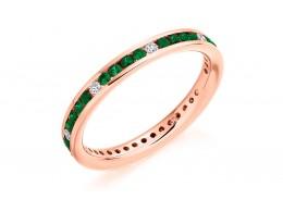 18ct Rose Gold Emerald & Diamond Round Brilliant Cut Full Eternity Ring 0.67ct
