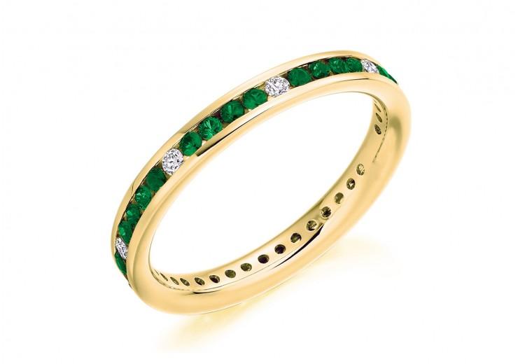 18ct Yellow Gold Emerald & Diamond Round Brilliant Cut Full Eternity Ring 0.67ct