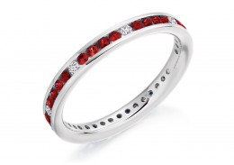 18ct White Gold Ruby & Diamond Round Brilliant Cut Full Eternity Ring 0.67ct