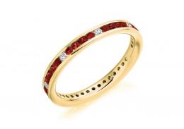 18ct Yellow Gold Ruby & Diamond Round Brilliant Cut Full Eternity Ring 0.67ct
