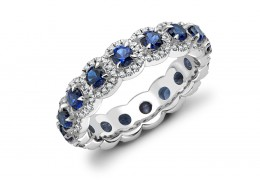 18ct White Gold Sapphire & Diamond Round Brilliant Cut Full Eternity Ring 2.15ct