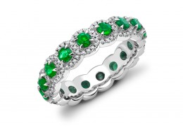 18ct White Gold Emerald & Diamond Round Brilliant Cut Full Eternity Ring 1.42ct