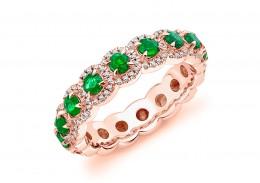 18ct Rose Gold Emerald & Diamond Round Brilliant Cut Full Eternity Ring 1.42ct