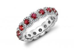 18ct White Gold Ruby & Diamond Round Brilliant Cut Full Eternity Ring 2.01ct