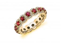 18ct Yellow Gold Ruby & Diamond Round Brilliant Cut Full Eternity Ring 2.01ct