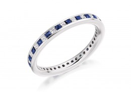 18ct White Gold Sapphire & Diamond Princess Cut Full Eternity Ring 1.10ct