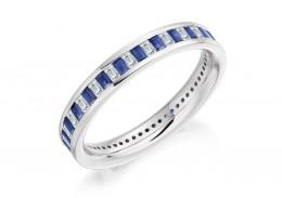 18ct White Gold Sapphire & Diamond Baguette Cut Full Eternity Ring 1.17ct