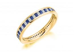 18ct Yellow Gold Sapphire & Diamond Baguette Cut Full Eternity Ring 1.17ct