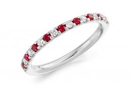 18ct White Gold Ruby & Diamond Round Brilliant Cut Half Eternity Ring 0.38ct