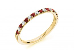 18ct Yellow Gold Ruby & Diamond Round Brilliant Cut Half Eternity Ring 0.38ct