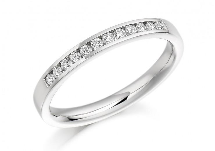Platinum Round Brilliant Cut Diamond Half Eternity Ring 0.20ct