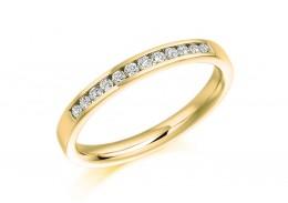 18ct Yellow Gold Round Brilliant Cut Diamond Half Eternity Ring 0.20ct