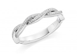 18ct White Gold Round Brilliant Cut Diamond Twist Half Eternity Ring 0.12ct