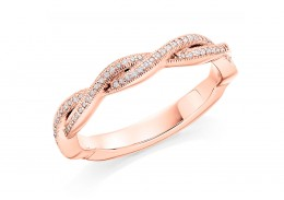 18ct Rose Gold Round Brilliant Cut Diamond Twist Half Eternity Ring 0.12ct
