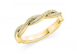 18ct Yellow Gold Round Brilliant Cut Diamond Twist Half Eternity Ring 0.12ct