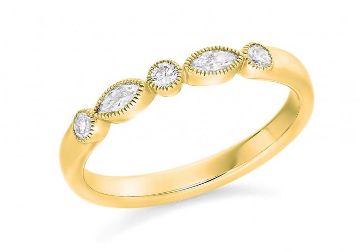 18ct Yellow Gold Round Brilliant & Marquise Cut Diamond Eternity Ring 0.28ct