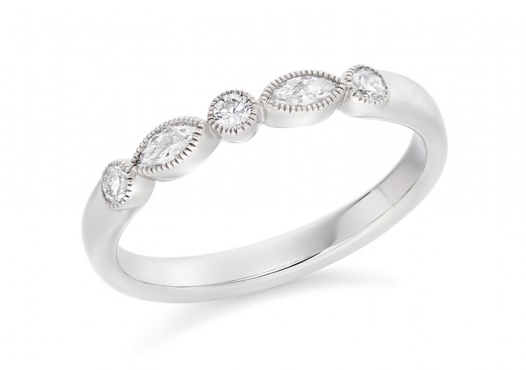 18ct White Gold Round Brilliant & Marquise Cut Diamond Eternity Ring 0.28ct