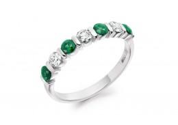 18ct White Gold Emerald & Diamond Round Brilliant Cut Half Eternity Ring 0.82ct