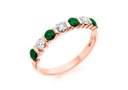 18ct Rose Gold Emerald & Diamond Round Brilliant Cut Half Eternity Ring 0.82ct