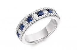 18ct White Gold Sapphire & Diamond Round Brilliant Cut Half Eternity Ring 1.64ct
