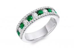 18ct White Gold Emerald & Diamond Round Brilliant Cut Half Eternity Ring 1.55ct