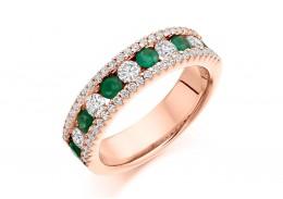 18ct Rose Gold Emerald & Diamond Round Brilliant Cut Half Eternity Ring 1.55ct