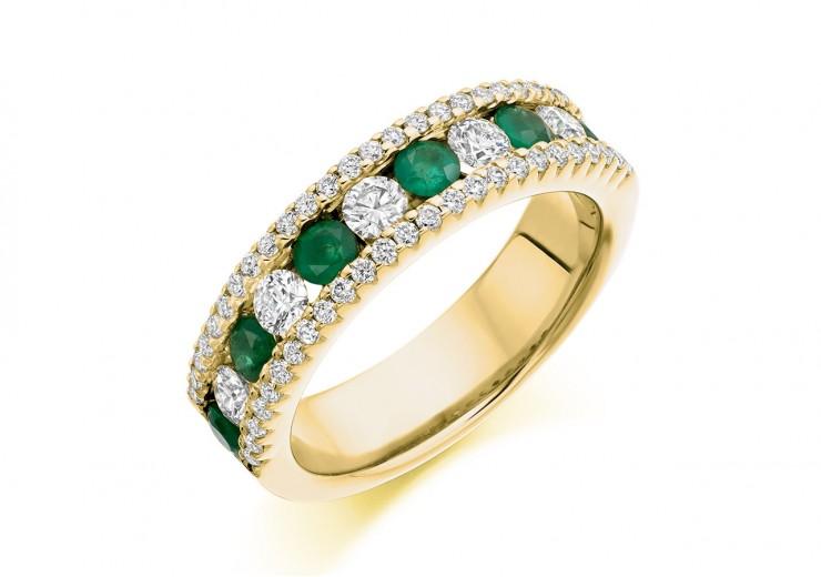 18ct Yellow Gold Emerald & Diamond Round Brilliant Cut Half Eternity Ring 1.55ct