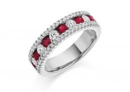 18ct White Gold Ruby & Diamond Round Brilliant Cut Half Eternity Ring 1.53ct