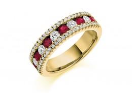 18ct Yellow Gold Ruby & Diamond Round Brilliant Cut Half Eternity Ring 1.53ct