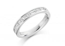 Platinum Princess & Baguette Cut Diamond Half Eternity Ring 1.20ct