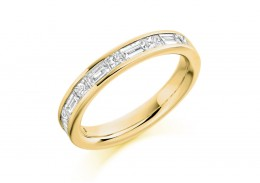 18ct Yellow Gold Princess & Baguette Cut Diamond Half Eternity Ring 1.20ct