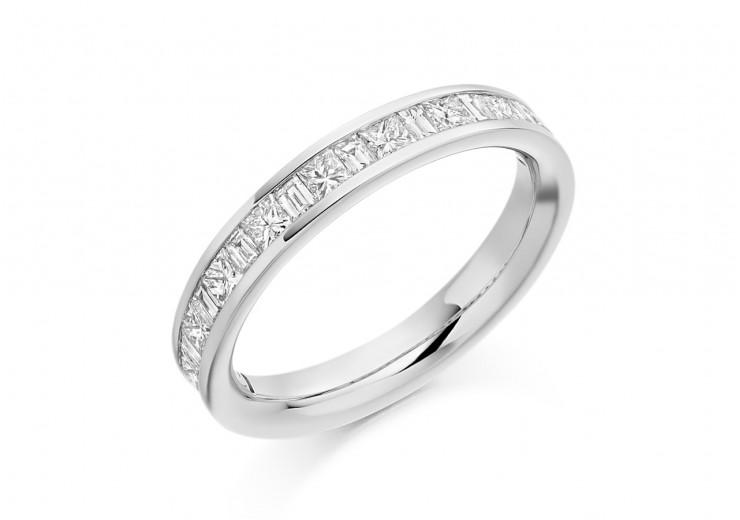 18ct White Gold Princess & Baguette Cut Diamond Half Eternity Ring 0.60ct