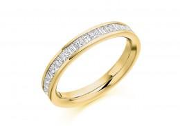 18ct Yellow Gold Princess & Baguette Cut Diamond Half Eternity Ring 0.60ct