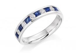 18ct White Gold Sapphire & Diamond Princess & Round Brilliant Cut Half Eternity Ring 0.75ct