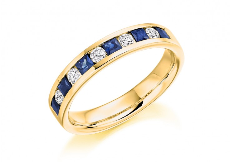 18ct Yellow Gold Sapphire & Diamond Princess & Round Brilliant Cut Half Eternity Ring 0.75ct