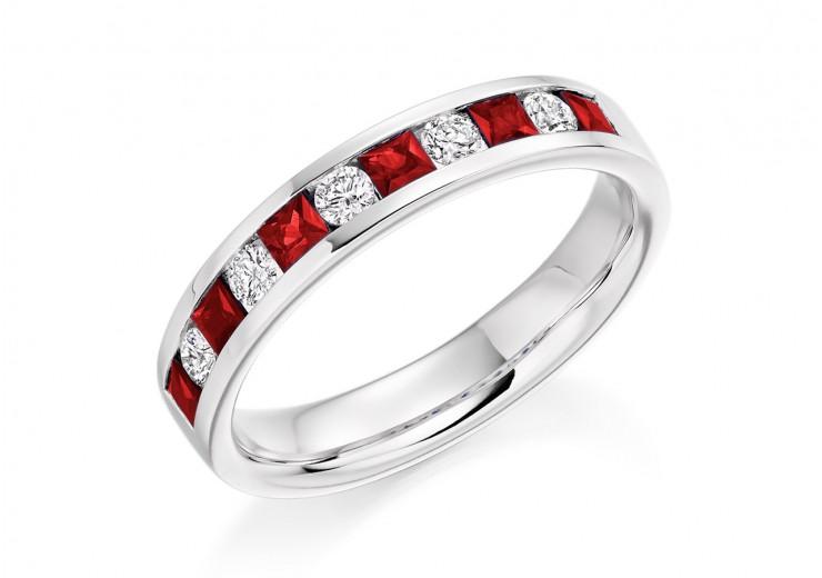 18ct White Gold Ruby & Diamond Princess & Round Brilliant Cut Half Eternity Ring 0.75ct