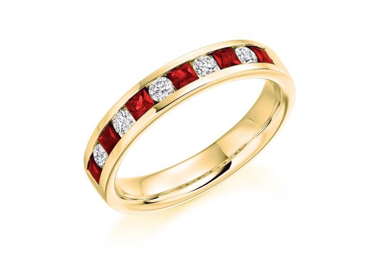 18ct Yellow Gold Ruby & Diamond Princess & Round Brilliant Cut Half Eternity Ring 0.75ct