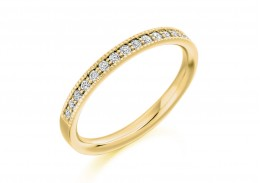 9ct Yellow Gold Round Brilliant Cut Diamond Half Eternity Ring 0.25ct