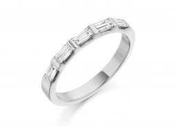 18ct White Gold Baguette Cut Half Eternity Ring 0.45ct