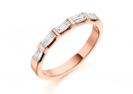 18ct Rose Gold Baguette Cut Half Eternity Ring 0.45ct