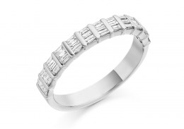 18ct White Gold Baguette Cut Half Eternity Ring 0.50ct