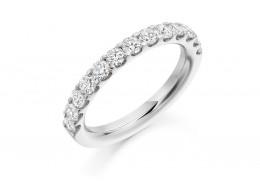 18ct White Gold Round Brilliant Cut Half Eternity Ring 1ct