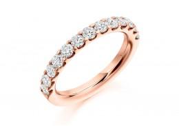 18ct Rose Gold Round Brilliant Cut Half Eternity Ring 1ct